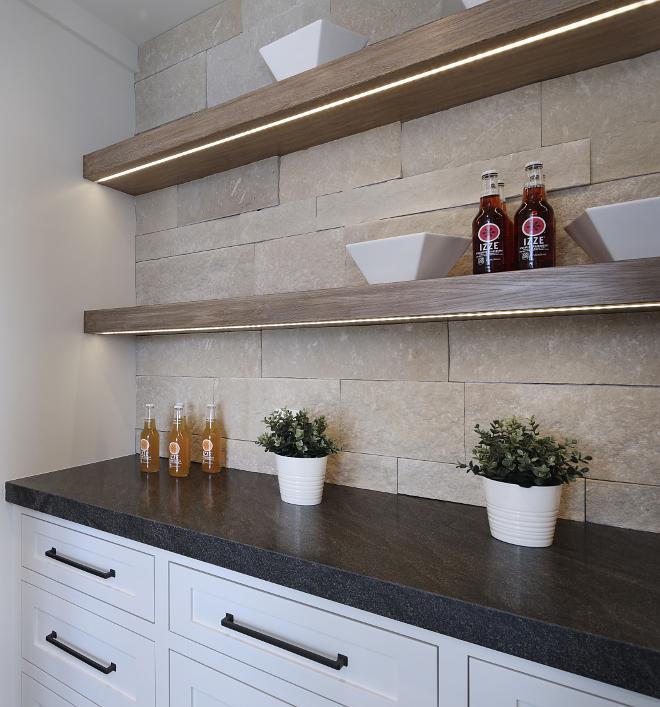Kitchen Shelf lighting Kitchen Shelf LED strip cabinet lighting Under cabinet LED strip cabinet lighting ideas Oak shelves with LED strip cabinet lighting #kitchenshelves #LEDstriplightin #undercabinetlighting