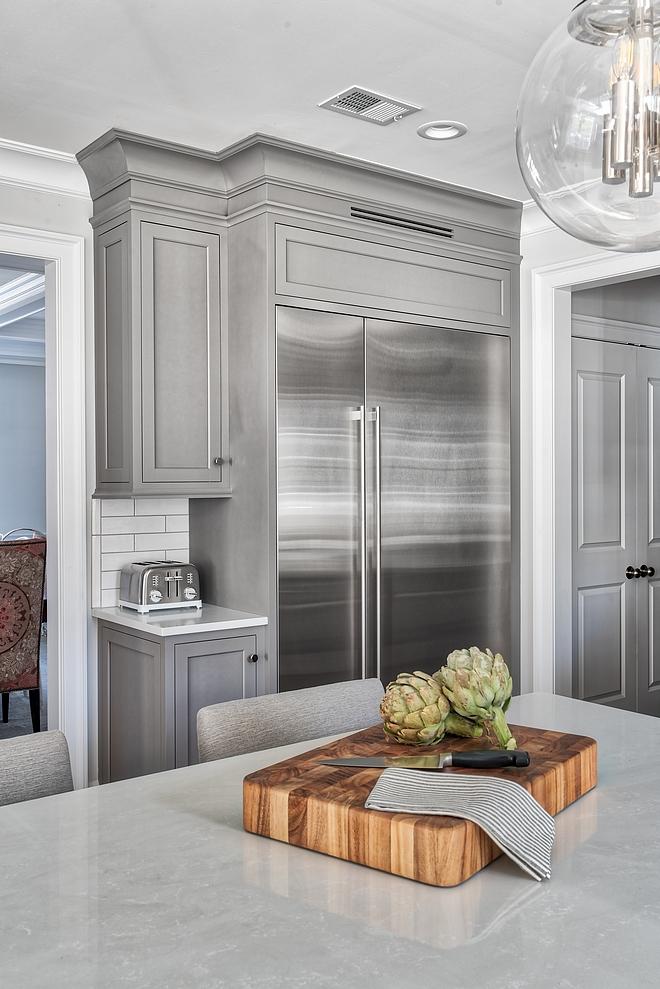"""Kitchen Fridge and freezer cabinet Fridge 36"""" Column- Stainless Fully Integrated (Subzero) combined with freezer to 54"""" Freezer 18"""" Column- Stainless Fully Integrated (Subzero) combined with fridge to 54"""""""