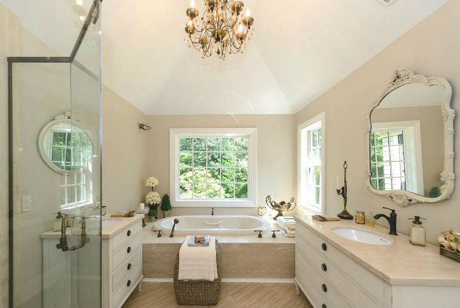 Tan Bathroom with Creamy White Cabinet Traditional Bathroom with tan walls and creamy white cabinetry Tan Bathroom with Creamy White Cabinet Tan Bathroom with Creamy White Cabinet #TanBathroom #CreamyWhiteCabinet #batrhoom