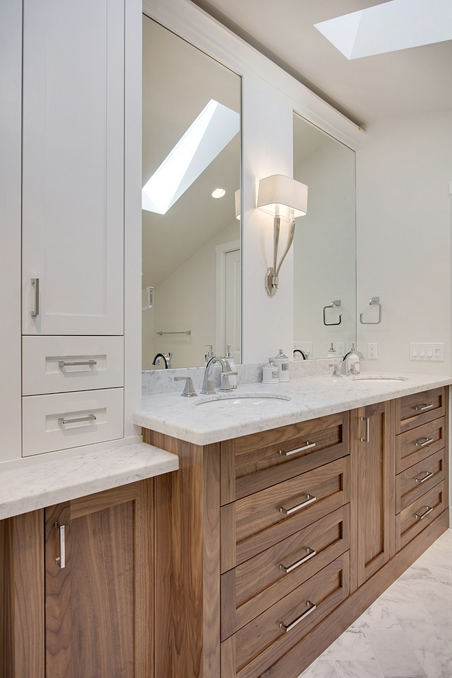 Bathroom Cabinet Bathroom Cabinet Details Walnut base with clear finish and Benjamin Moore White Dove above for the mirror surrounds and cabinet #BathroomCabinet #Bathroom #WalnutCabinet #Bathrooms #cabinet