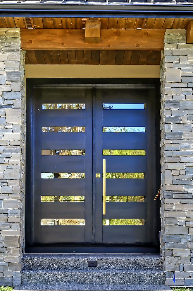Black Front Door Modern Front Door The custom-made front doors are White Oak - stained Back with glass inserts Modern Front Door #BlackFrontDoor #BlackDoor #ModernFrontDoor