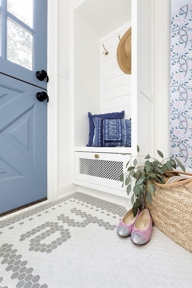 "Mudroom Mudroom Tile Mudroom features 2"" white hex tile and 2"" grey hex tile forming the word hello as you enter Mudroom Mudroom #Mudroom #MudroomTile #tile #hextile"