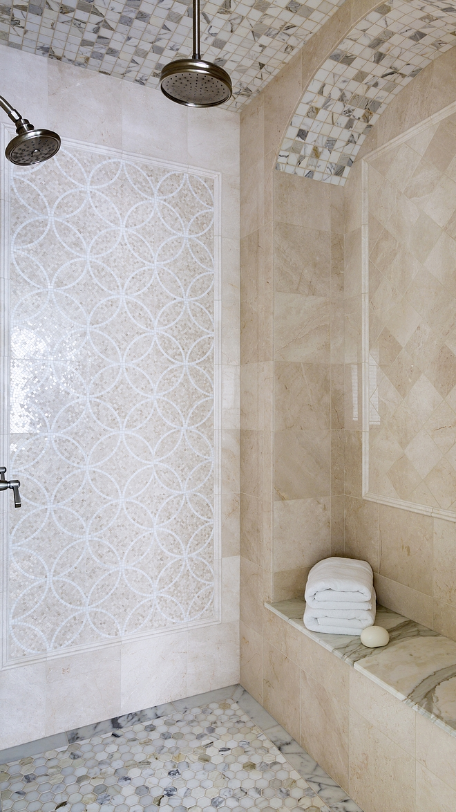 Shower Tile Traditional Shower Tile The master bathroom features a walk-in shower with neutral tiling and custom details #traditionalshower #neutraltile #showertiling #showertile