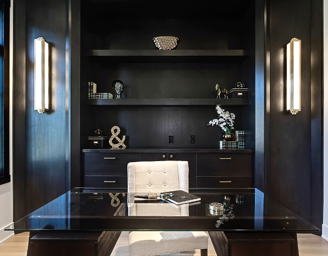 Home Office with long sconces flanking custom cabinet with drawers and open shelves #homeffice #longsconces
