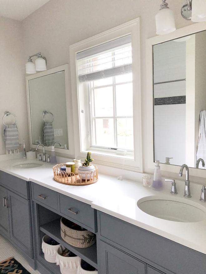 Dark grey bathroom cabinet with white quartz countertop #whitequartz #countertop #bathroomcountertop #quartzbathroom