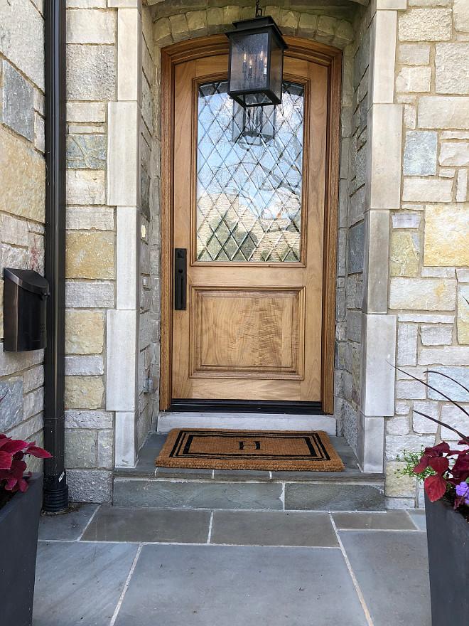 Front Door Wood and Glass front Door Front Door is Pella leaded glass door sanded down with a clear poly #Frontdoor