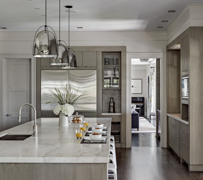 White Oak Kitchen with Calacatta Marble Countertop