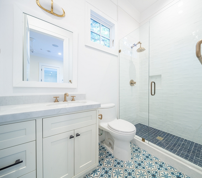 Blue and white cement Tile Bathroom with blue and white cement tile Blue and white cement Tile Bathroom with blue and white cement floor tile #bathroom #blueandwhite #blueandwhitecementfloortile #cementtile
