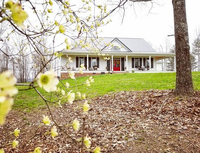 """The front of the house is """"Select Cedar Mill"""" Hardie Siding painted with Sherwin Williams Extra White SW 7006 paint"""