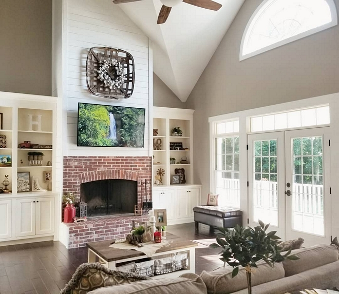 Brick Fireplace with shiplap Farmhouse Brick Fireplace with shiplap Farmhouse Brick Fireplace with shiplap Brick Fireplace with shiplap Brick Fireplace with shiplap #farmhouse #BrickFireplaceshiplap