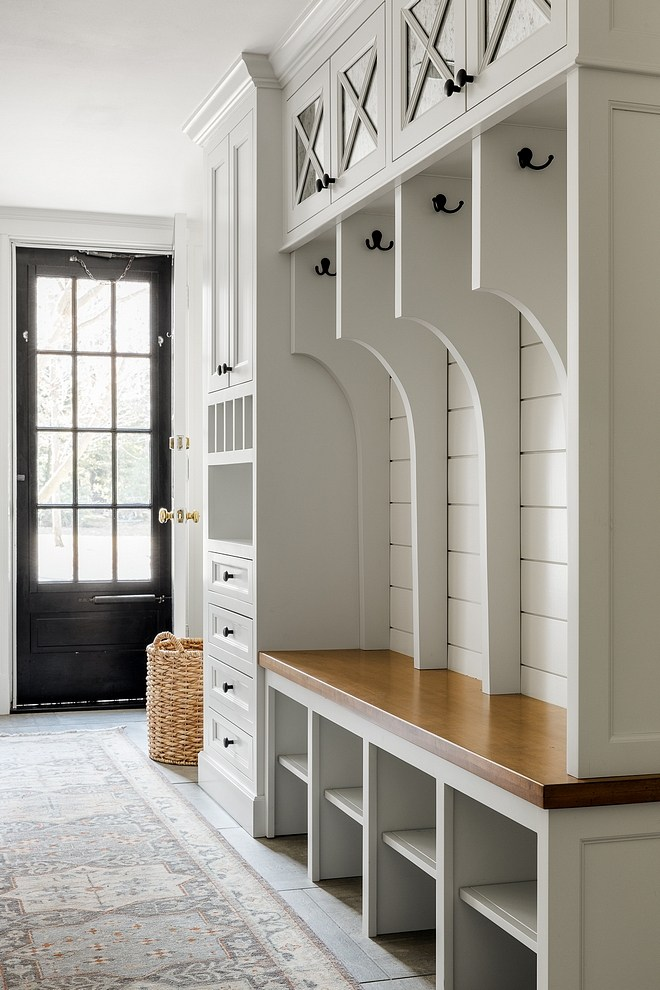Mudroom Renovation Mudroom Renovation Ideas The lockers feature a stained wood bench, shiplap back and a built-in drop-zone with drawers Mudroom Renovation Cabinet Mudroom Cabinet Renovation #MudroomRenovation #Mudroom
