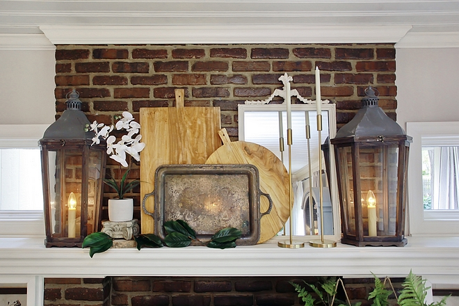 Farmhouse fireplace mantel decor