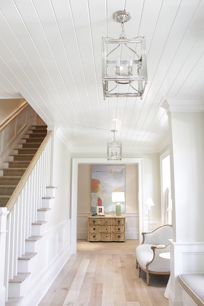 Tongue and Groove ceiling paint color Benjamin Moore White Dove Semi-gloss with light White Oak hardwood floors classic timeless look #BenjaminMooreWhiteDove #semigloss #tongueandgroove