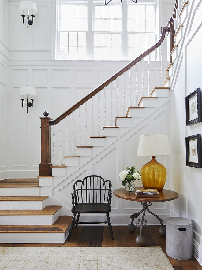 Traditional Stair Traditional Staircase Cascading Stair A cascading stair near the entry foyer opens up to the second floor with a triple-hung window allowing natural light to flood the space Traditional Staircase #Traditionalstaircase #Stair Traditionalstair #Staircase #CascadingStair