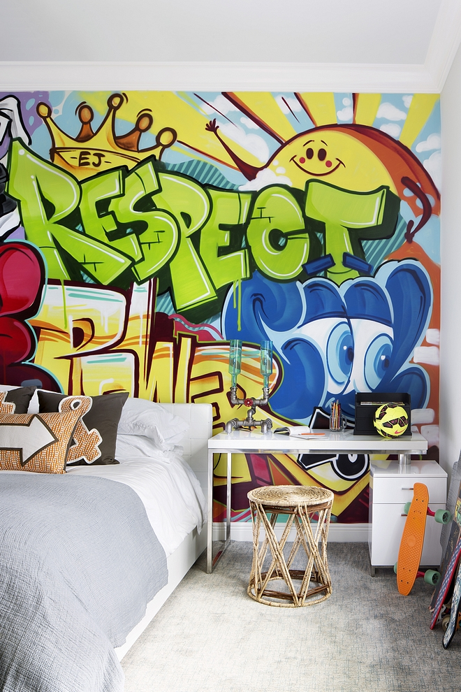 Teen bedroom design The designer hired a graffiti artist to paint this on the wall #teenbedroom #teenbedroomdesign