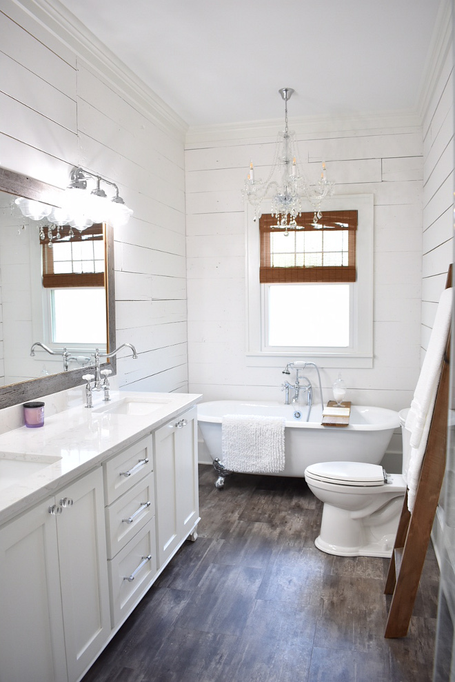 Farmhouse Master Bath The master bath was completely gutted and is brand new  I wanted clean, simple lines and again, soothing, calming spaces #FarmhouseMasterBath