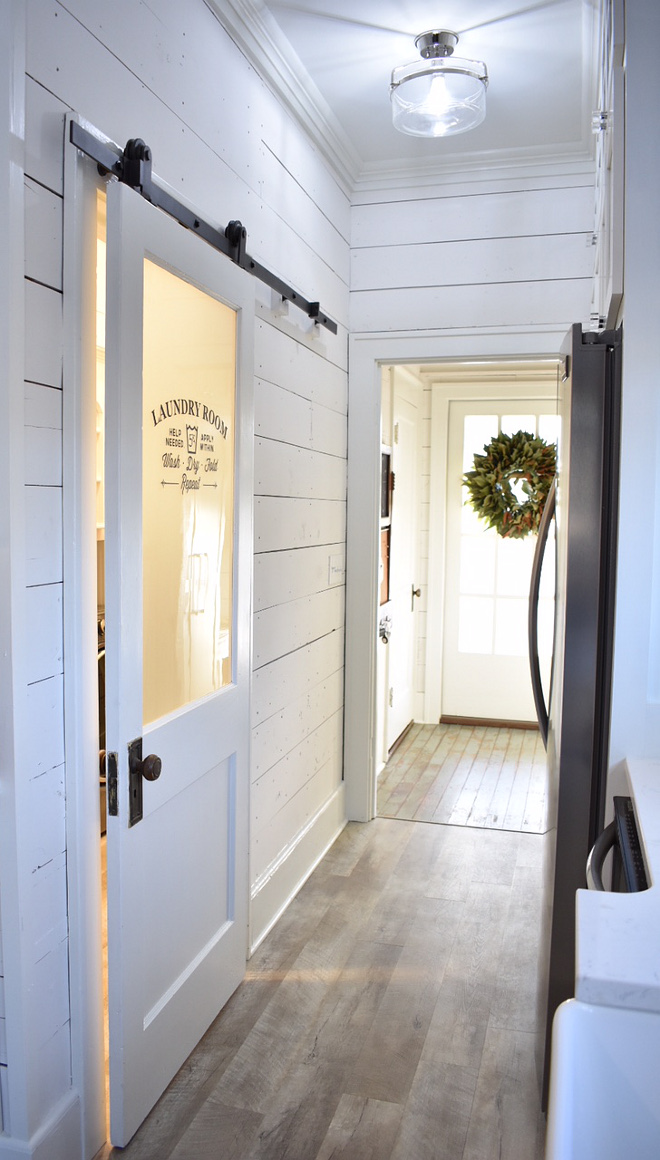 Laundry Room Barn Door paint color Sherwin Williams Snowbond Laundry Room Barn Door Farmhouse Laundry Room Barn Door #LaundryRoomBarnDoor #LaundryRoom #BarnDoor #paintcolor #SherwinWilliamsSnowbond