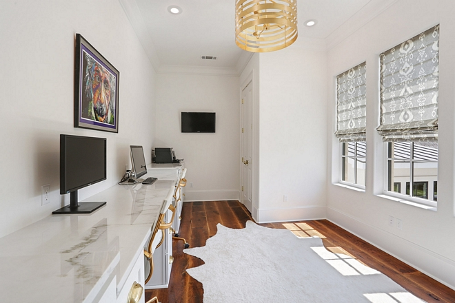 Home Office off master bedroom with long custom desk for two Countertop is Calacatta Linear Marble #homeoffice