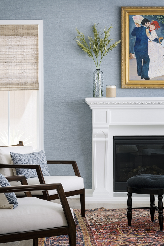 Light blue Grasscloth wallpaper Living room with white trim and Light blue Grasscloth wallpaper #LightblueGrassclothwallpaper #Grassclothwallpaper