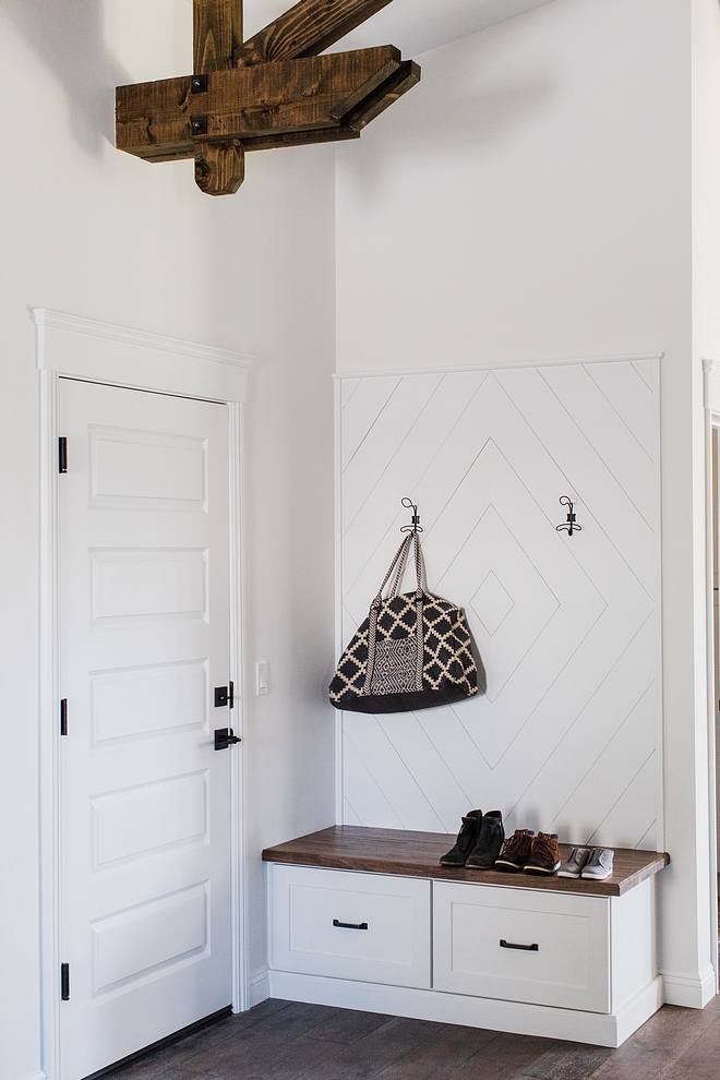 Mudroom Entry features built in bench with drawer and Shiplap in a Diamond Shape wainscoting #Mudroom #builtinbench #Shiplap #wainscoting