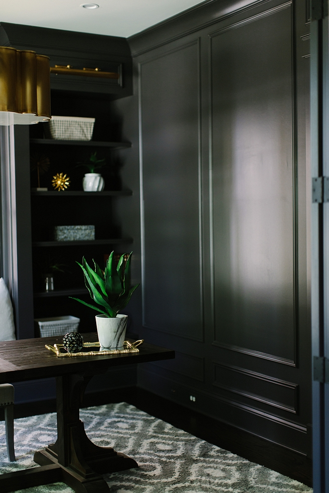 Benjamin Moore Iron Mountain Home office Extensive millwork using panel molding and then having the whole room painted semi gloss of Benjamin Moore Iron Mountain Benjamin Moore Iron Mountain #BenjaminMooreIronMountain