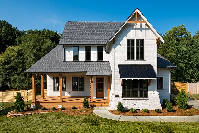 White Farmhouse with shingle and painted bric exterior Benjamin Moore Balboa Mist paint color #WhiteFarmhouse #Farmhouse #exterior #BenjaminMooreBalboaMist