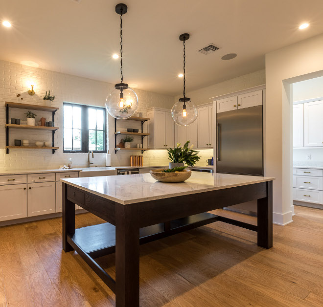 Kitchen Island The custom kitchen is made of Oak wood and it was stained black Countertop is marble quartz #KitchenIsland #kitchenislanddesign #Oakisland