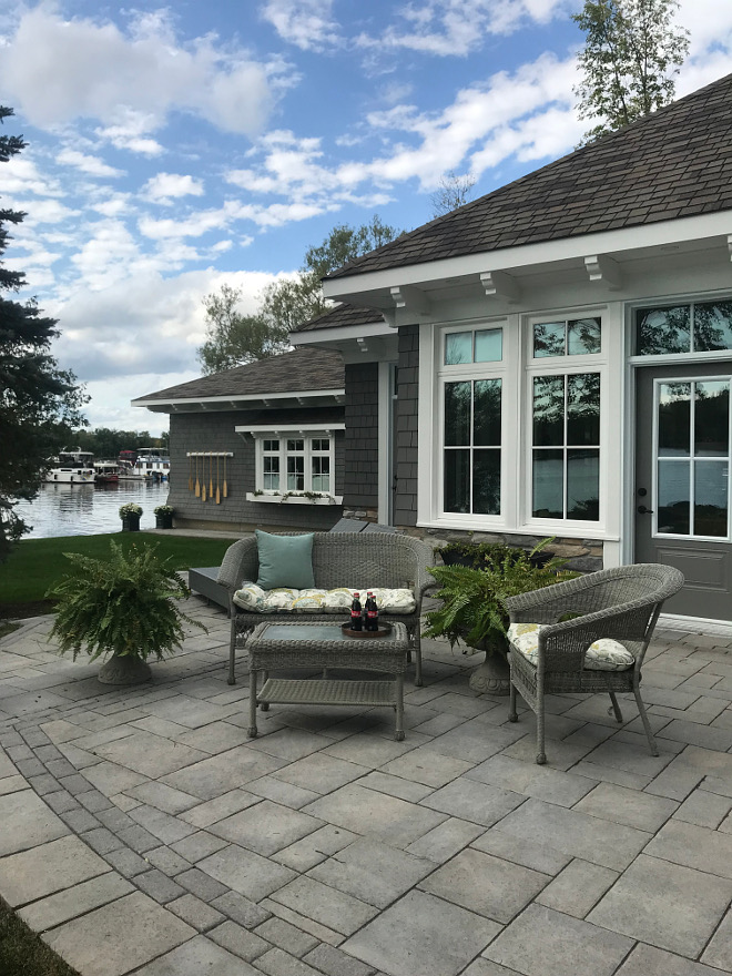 Lake house paved patio