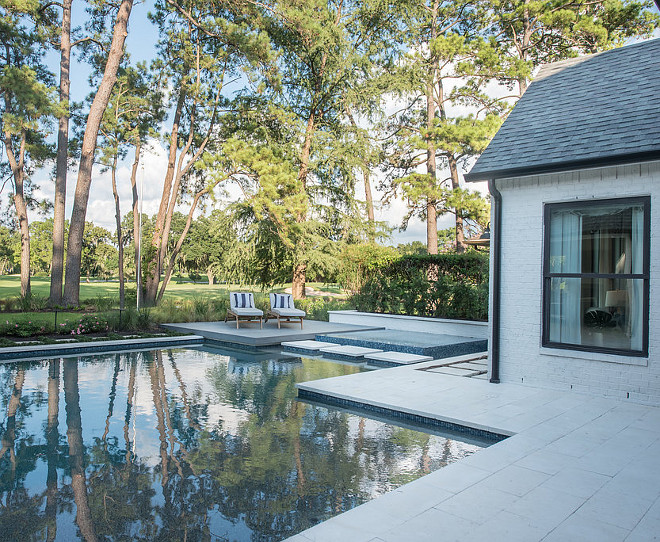 """Pool Deck Pool Deck 12""""x24"""" Shell Beach Tumbled Limestone Paver For our flat floating deck platform we used a composite decking material supplied by NewTech Wood in a charcoal selection"""