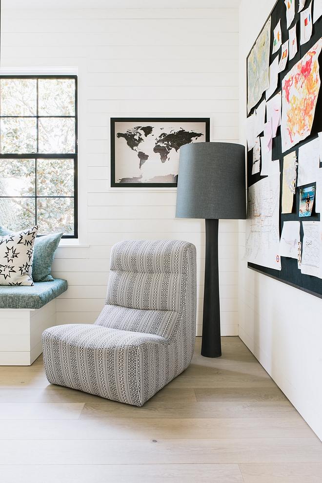 Shiplap and trim color is Plaster Match custom white Chair Verellen Sawyer Chair Floor Lamp Verellen Como Floor Lamp #shiplap #floorlamp