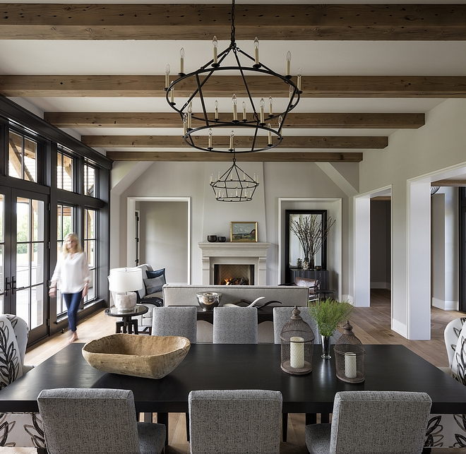 Beam ceiling paint color Ceiling Paint Color 50% Classic Gray by Benjamin Moore/ 50% Collingwood OC-28 by Benjamin Moore #Beamceiling #ceilingpaintcolor