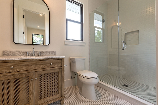 Bathroom Elm Cabinet Elm Cabinetry Bathroom with elm vanity and white quartzite countertop #elmCabinet #bathroom