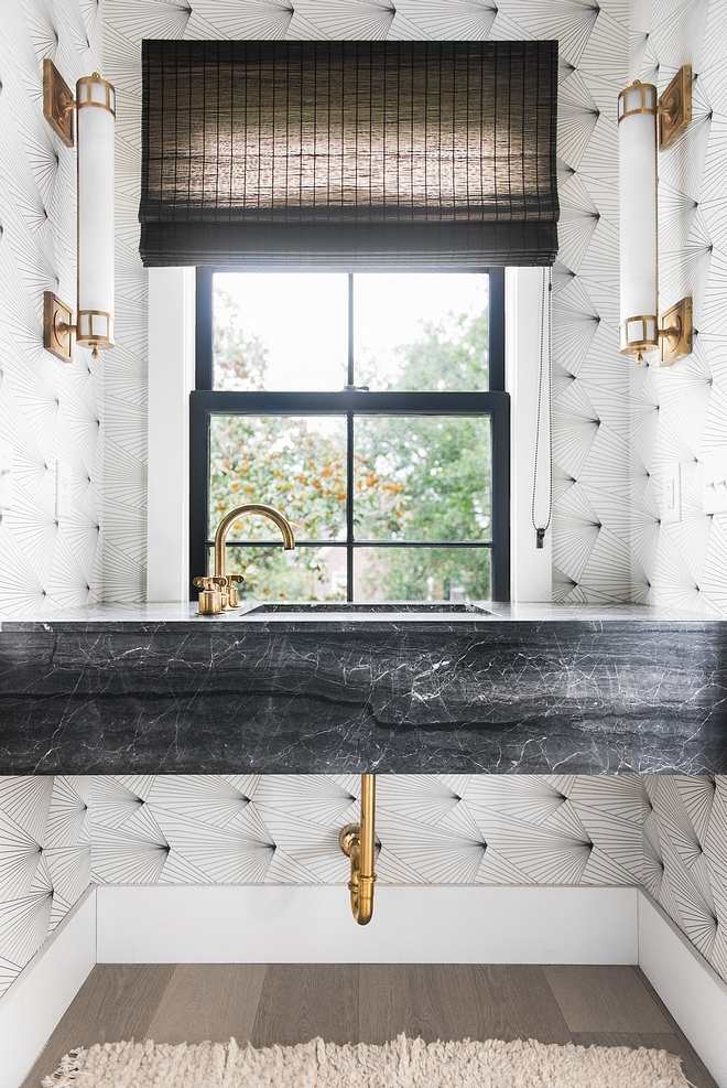 Florating Vanity Marble Floating Vanity Details Vanity made by local fabricator out of Ann Sacks Eros Grey Marble Tile #FloratingVanity #MarbleFloatingVanity
