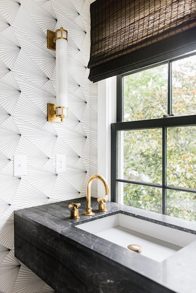 Freestanding Vanity Bathroom Vanity with freestanding vanity and Erica Wakerly Fan Wallpaper #bathroom #FreestandingVanity #BathroomVanity