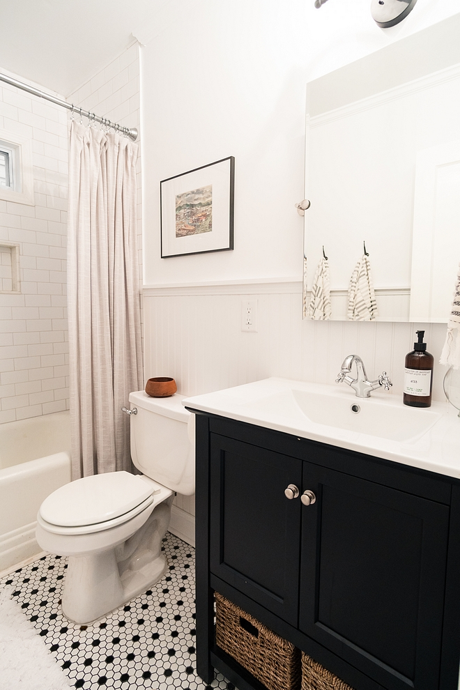 Bathroom renovation We moved the vanity to the other side of the bathroom, and it feels twice as big Small bathroom renovation #bathroomrenovation #smallbathroomrenovation #smallbathroom