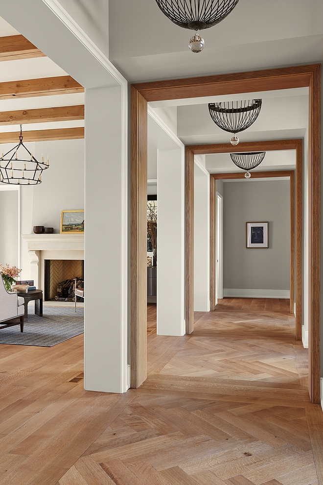 "Hardwood Flooring 6"" Riffed and quartered white oak, eased edge, custom Stain with Herringbone inset pattern at raised ceiling locations #HardwoodFlooring #herringbonehardwood #Riffedandquartered #whiteoak"
