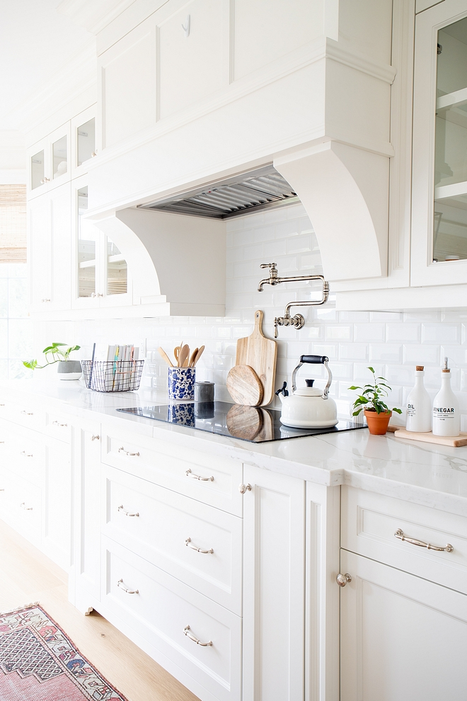 Kitchne Backsplash I opted for a very classic white bevelled 3 x 6 subway tile I didn't want anything too busy or trendy I love how the backsplash compliments the quartz counters without competing with them #kitchenbacksplash #kitchen #backsplash