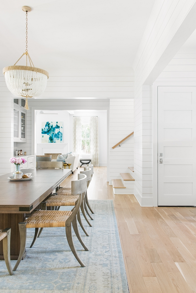 White Oak hardwood Dining room with light White Oak hardwood floor Hardwood Flooring wood, white oak with clear non-oil based stain #HardwoodFlooring #woodflooring #whiteoak