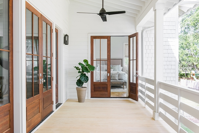 Origami White by Sherwin Williams exterior with Wood French Doors Origami White by Sherwin Williams #OrigamiWhitebySherwinWilliams