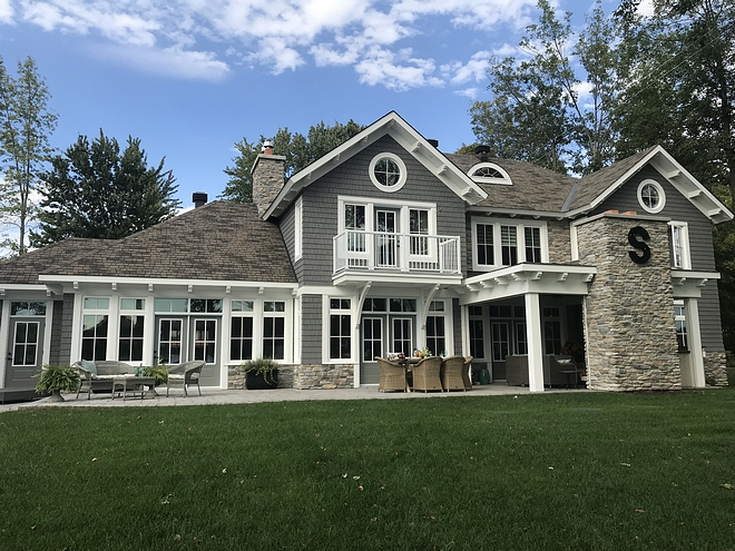 Grey siding The exterior cedar shake colour is Bar Harbor Blue from Maibec #greysiding