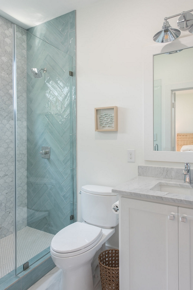 Coastal Bathroom Tile Combination Inspiration The tile combination in this bathroom is beyond inspiring Coastal Bathroom Tile Combination Ideas #CoastalBathroomTile #TileCombination