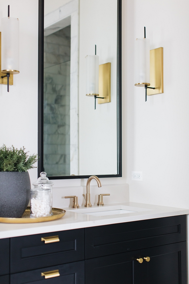 Bathroom with black cabinet painted in Benjamin Moore Black with brass accents Bathroom with black cabinet Bathroom with black cabinet #Bathroom #blackcabinet