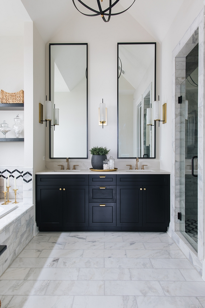 Benjamin Moore OC-23 Classic Grey Wall paint color is Benjamin Moore OC-23 Classic Grey and the black cabinets are painted in Benjamin Moore Black #BenjaminMooreOC23ClassicGrey