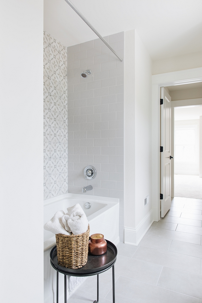 Classic Gray by Benjamin Moore Classic Gray by Benjamin Moore bathroom with soft grey tiles Classic Gray by Benjamin Moore #ClassicGraybyBenjaminMoore