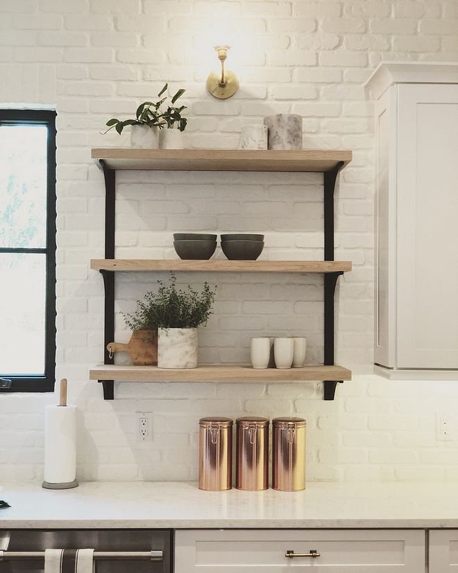 The backplash is brick and it's painted in Benjamin Moore Simply White The backplash is brick and it's painted in Benjamin Moore Simply White The backplash is brick and it's painted in Benjamin Moore Simply White #backplash #brickbacksplash #BenjaminMooreSimplyWhite