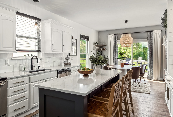 Kitchen Renovation Kitchen island is a DIY project and the cabinets were cabinet the same, just painted and added new hardware Backsplash is an affordable 6x6 subway tile Kitchen Renovation #KitchenRenovation