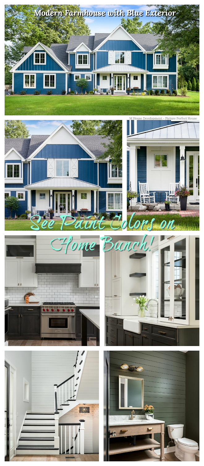 Modern Farmhouse with Blue Exterior Modern Farmhouse with Blue Exterior #ModernFarmhouse #BlueExterior
