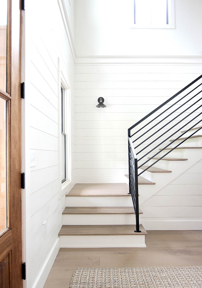 Stair Treads One of the challenges we encountered when building was finding a stain for our stair treads that matched the color of our engineered hardwood. I can't even count the number of color combinations we tried. We were about to give up when we came across an outdoor semi-transparent stain that was a perfect match Stair Treads #StairTreads