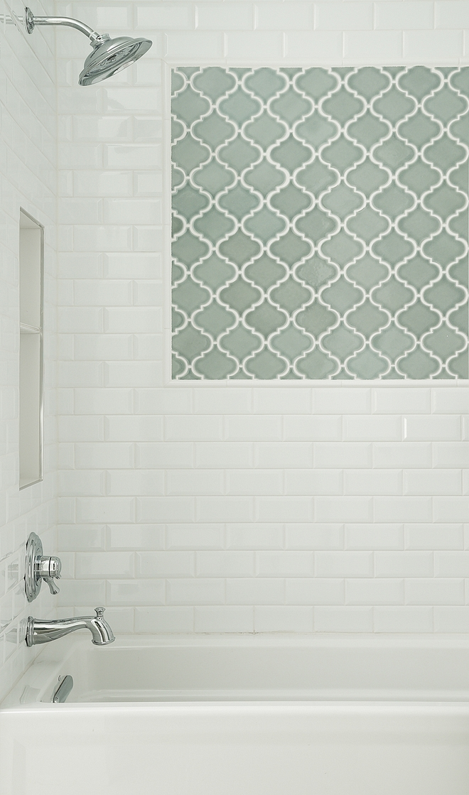 "Shower Tile Bright White Ice Beveled Ceramic Wall Tile 3""x6"" accent: Villa Heirloom Aqua Arabesque Porcelain Mosaic"