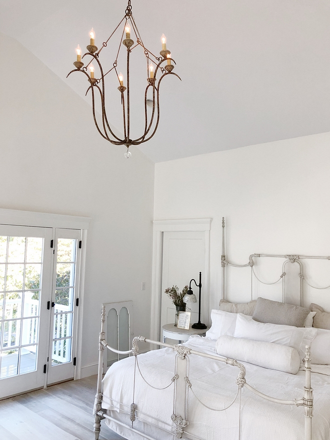 Bedroom Chandelier A vintage patina gives this Chandelier an authentic look. Light and airy, it's easy to mix in with any decor style Made of spun steel, resin and crystal Features a hand-painted, antique-textured, white finish Bedroom Chandelier #Bedroom #Chandelier